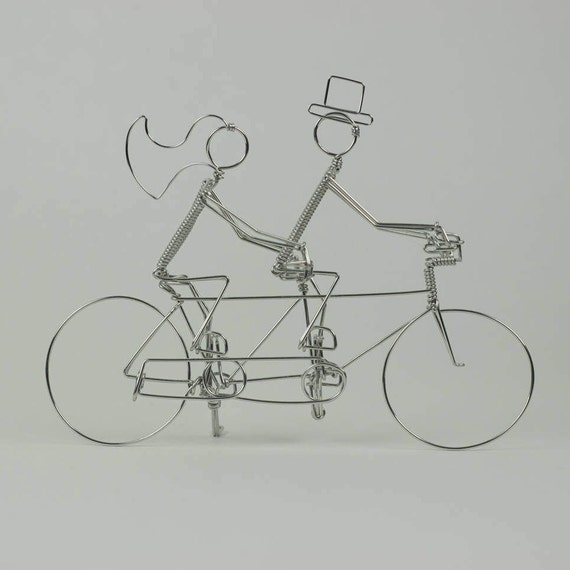 Tandem Bike Wedding Cake Topper with Riders: A LOVE STORY, not Personalized
