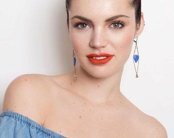 Art Deco Style Earrings - Sky Blue Earrings - Geometric - Chevron - Green Earrings - Debra Earrings (SD437)