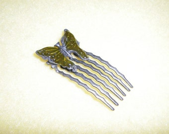 Vintage Butterfly Hair Comb, olive green enamel butterfly, small antiqued silver tone decorative comb