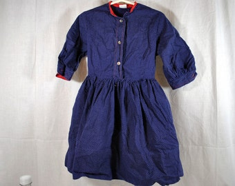 Girl's Dress by Alyssa - Vintage Shirtwaist Dress - Navy blue with White Polka Dots Trimmed in Red