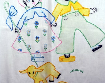 Vintage Embroidered Nursery Decor - Wall Hanging - Raggedy Ann and Andy - Outline Stitching - Muslin Crib Cover Hand Made