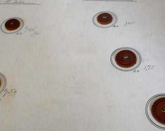 Lot of VINTAGE Leather Sew Thru Salesman Sample Card BUTTONS