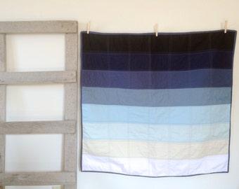 Baby Quilt | Modern Baby Quilt | Ombre Blue Stripe Crib Quilt | Gradient Quilt