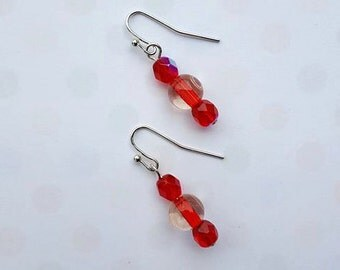 SALE - Silver and Red Dangle Earrings - Czech Clear Ruby Beaded - Bella Mia Beads - READY to SHIP
