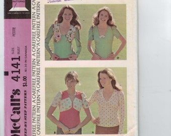 1970s Vintage Sewing Pattern McCalls 4141 Misses Set of Blouses High Waisted Fitted Size Petite 6 8 Bust 30 1/2- 31 1/2  70s 1974 UNCUT