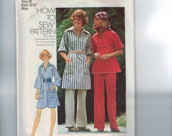 1970s Vintage Sewing Pattern Simplicity 7250 Misses Easy Shirt Tunic Top Pants Dress Size 10 Bust 32 1/2 1975 70s