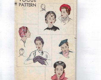 Vintage 1950s Craft Pattern Vogue 6124 Hat Turban Cap Beret Size 21 50s