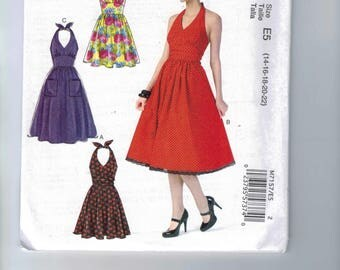 Misses Sewing Pattern McCalls M7157 7157 Womens' Full Skirt Rockabiilly Halter Neck Dress Backless Sundress Size 14 16 18 20 22 UNCUT