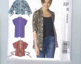 Misses Sewing Pattern McCalls M7200 7200 Easy Summer Lightweight Cardigan Jacket Kimono Size L-XL-XXL  16-18-20-22-24-26 UNCUT