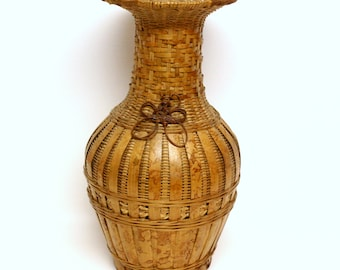 Large Woven Basket Vase with Knotted Embellishment