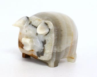 Carved Onyx Stone Pig Figurine in Hues of Brown, White, & Grey