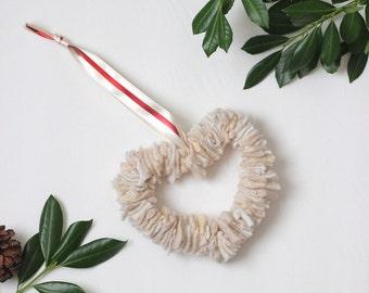 Valentine Wreath - Cream Felted Wool Heart Wreath