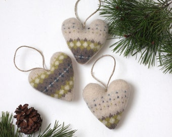 Felted Wool Valentine Heart Ornaments // Rustic Valentine Decorations // Cream Wool Heart Ornaments