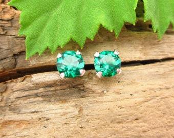 Emerald Lab Grown Stud Earrings, Green Earrings in Gold, Silver, or Platinum, 5mm