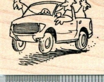 Chicken Rubber Stamp, Driving a Pickup Truck G31815 Wood Mounted