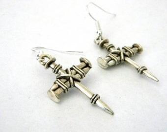 Cross Nail Earrings Silver Color Dangle Earrings