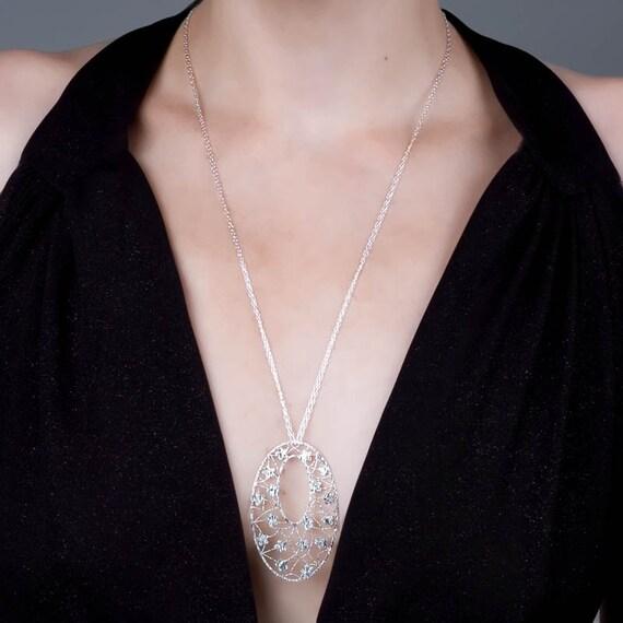 Long Silver Necklace,  Long Necklace Pendant ,Sterling Silver Filigree Necklace, Flowers Necklace, Lace Necklace Silver, Large Pendant