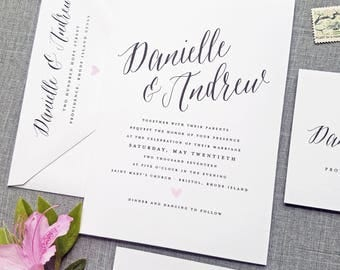 Danielle Wedding Invitation Sample on White Card Stock with Calligraphy Script Font and Pink Heart - Spring, Summer Wedding Invite