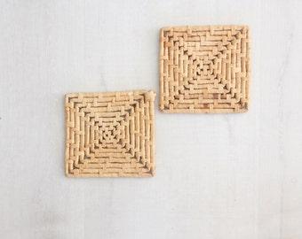 Woven Straw Trivet, Pair