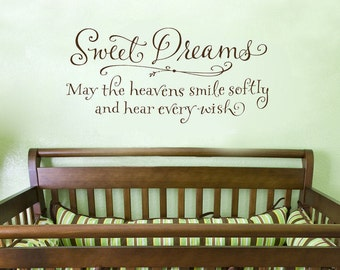 Nursery Wall Decal - Sweet Dreams - May the heavens smile softly - Child's Room Decor - Wall Words Sticker - Wall Letters - Nursery Decor