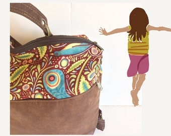 bohemian Backpack, backpack Purse, medium backpack, handmade backpack, backpack hand bag, cruelty free bag, hippy backpack, hobo backpack.