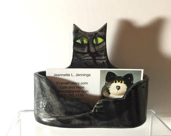 business card holder: pottery cat lucky black kitty Maine Coon ceramic office feline pet resort vetinary groomer decor