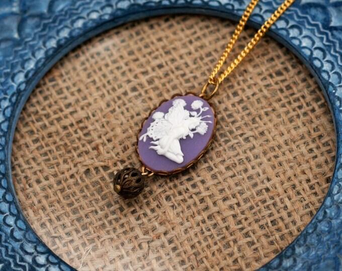 Flower Fairy Necklace, Purple Fairy Cameo, Faerie Pendant