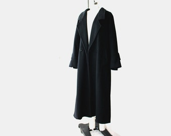 1980's Oversized Black Wool Trench Coat
