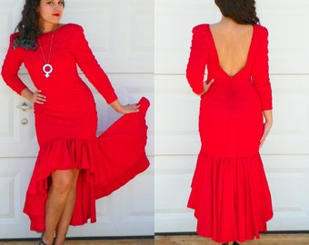 1970s Vintage Red Bodycon High Low Dress Open Back Long Sleeves Red Fishtail Dress Mermaid Dress Trumpet Skirt Size Small