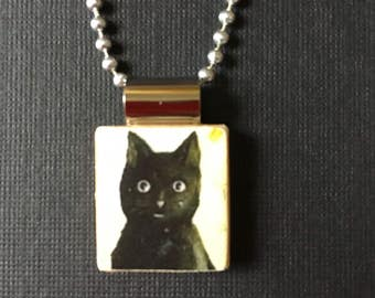 Black Cat jewelry, handmade black cat necklace, black cat lover's gift, kitty jewelry, black kitty pendant, recycled scrabble tile jewelry