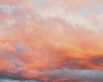 Desert art, sunset photograph, Joshua Tree photography, California desert print, sky photo, pink, orange, rocks, Palm Springs art, poster