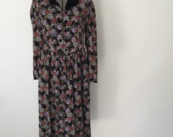 Vintage LAURA ASHLEY Dress • 1980s Clothing •Classic Navy Blue Floral Print Cotton Corduroy Shirtdress Size 12 10 8 Made in Great Britain