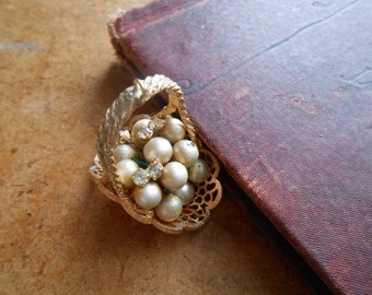 vintage rhinestone and pearl filigree basket charm - vintage costume jewelry