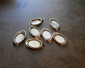 6 pcs antique gold oval frame setting charms - vintage brass cameo cab charms - old new stock jewelry supplies