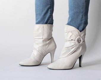 cream ankle boots | white stiletto boots | 1980s size 7