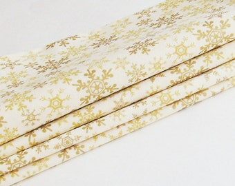 Gold Snowflakes Holiday Season Cotton Napkins / Set of 4 / Gold Metallic & Beige Christmas Table Decor / Unique Eco-Friendly Gift Under 50