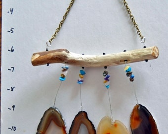 Agate geode wind chime windchime Lake Superior driftwood ambers and brown tones suncatcher mobile multi color gemstone accents sun catcher