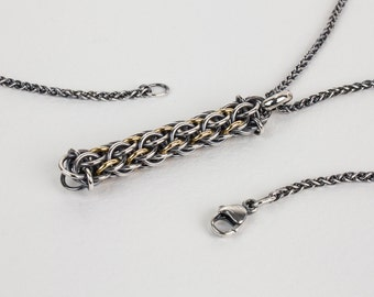 Mens Necklace Pendant, Oxidized Argentium Silver and 18k Gold, Dream Totem Unique Handwoven Chainmaille 1.7mm Wheat Chain 18 22 28 36 inch