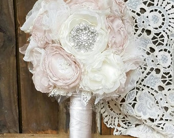 Bridal Brooch Bouquet , Wedding Bouquet,Rhinestone Bouquet,Fabric Flower Bouquet, Vintage bouquet, Blush and Ivory, Shabby Chic Bouquet