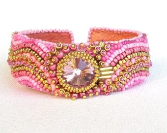 pink bead embroidered cuff crystal bracelet pink beaded cuff bead embroidered jewelry bead bracelet seed bead bracelet boho