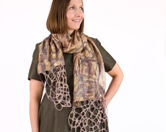 Silk scarf, Silk and felt scarf, Hand painted silk scarf, Gift for mother nana, Boho scarf, Unique handmade silk and felt scarf, Kate Ramsey