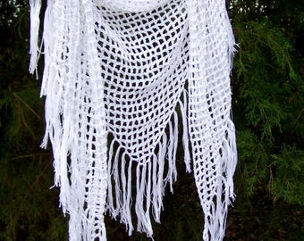 Crochet Shawl Wrap - Triangle Scarf - Beach Cover Up - Hip Wrap - Festival Clothing - Fringe Scarf - White