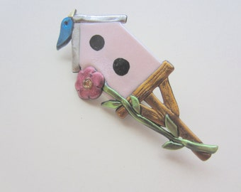 Birdhouse Garden Pin Brooch