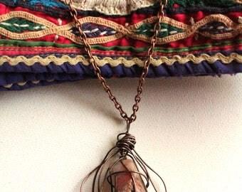 Cheldena Pod Necklace, Agate Jewelry, OX Brass Necklace, Art Jewelry, OOAK Necklace, Caged Agate Necklace, Agate Necklace, Cheldena ArtWear