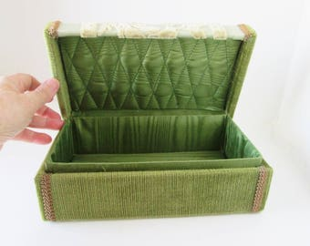 Vintage glove box, Taupe Green Case, Letter Box, Jewelry Dresser box Organizer, chinille domed top, satin quilted fabric interior lining