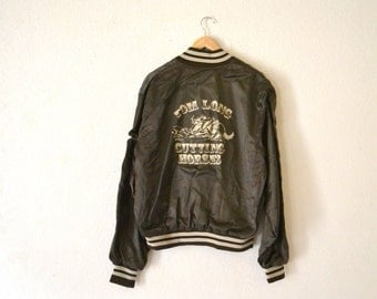 "1980's ""Cutting Horses"" Brown Nylon Jacket"