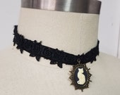 Cat Cameo Choker Lolita Lace Necklace - Goth Victorian Steampunk- Hypoallergenic Ribbon-Custom to Order