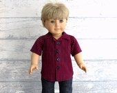 Boy Doll Clothes Red Blue Shirt, American Boy Doll Button Front Shirt, Valentine Clothes