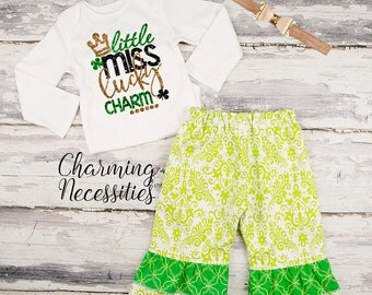 Baby Girl St Patricks Day Outfit, Toddler Girl Clothes, Top and Ruffle Pants Set, Miss Lucky Charm green gold black by Charming Necessities