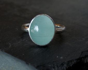 Custom aquamarine ring / March birthstone jewelry / satin aquamarine / aquamarine jewelry / blue gemstone jewelry / made to order ring